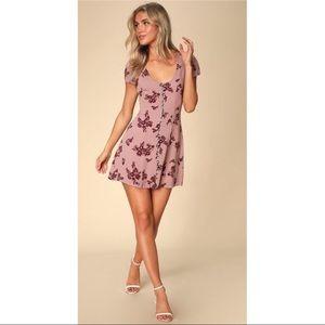 LULU's Mauve Floral Button-Down V-Neck Mini Dress